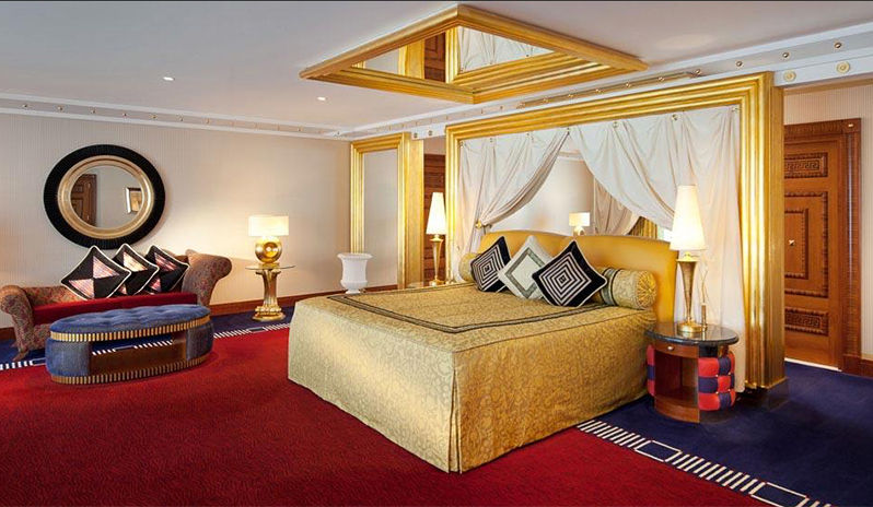 One of the luxurious rooms at the Burj Al Arab hotel in Dubai.