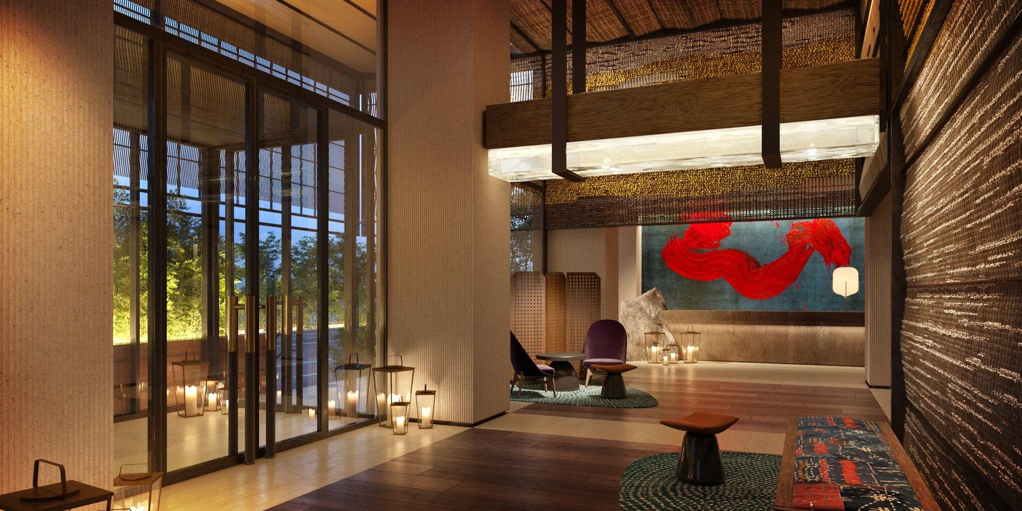 The chic lobby area at Nobu Hotel Barcelona