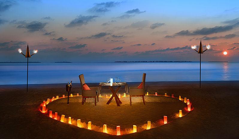 Romantic dinner set up at JA Manafaru